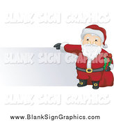 Vector Illustration of Santa Holding a Present and Toy Sack and Presenting a Blank Sign by BNP Design Studio