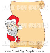 Vector Illustration of Santa Looking Around a Blank Scroll Sign by Visekart