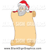 Vector Illustration of Santa over a Scroll Sign by Visekart