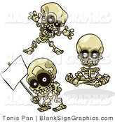 Vector Illustration of Skeletons Teasing, Meditating and Holding a Blank Sign by Tonis Pan