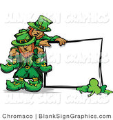 Vector Illustration of St Patricks Day Leprechauns with a Blank Sign by Chromaco