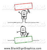 Vector Illustration of Stick Man with Blank Red and Green Text Boxes by NL Shop