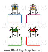 Vector Illustration of Stick People King, Queen and Jester Blank Signs by NL Shop