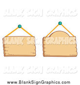 Vector Illustration of Two Hanging Wood Signs by Visekart
