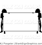 Vector Illustration of Two Silhouetted Ladies Holding a Blank Sign by KJ Pargeter