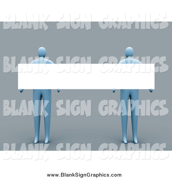 Illustration of 3d Blue People Holding a Long Blank Sign