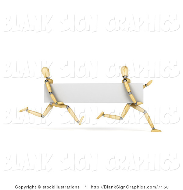 Illustration of 3d Running Wood Mannequins with a Blank Banner