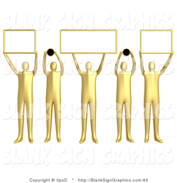 Illustration of 5 Golden People Holding Domain Signs