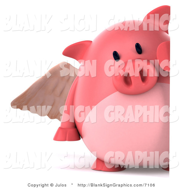 Illustration of a 3d Angel Pig Holding a Blank Sign