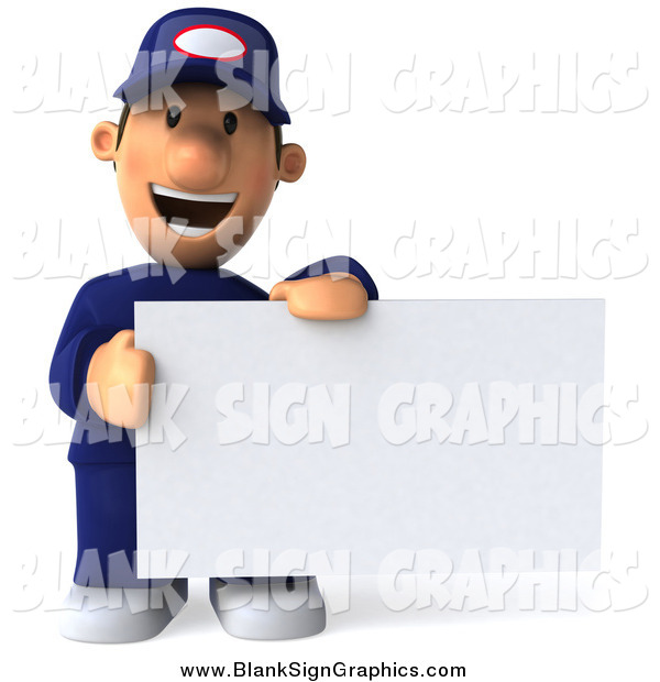 Illustration of a 3d Auto Mechanic Holding a Blank Sign