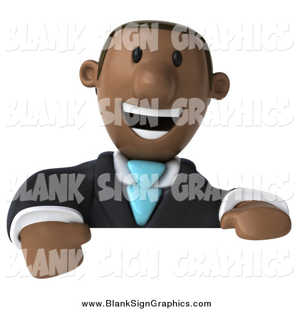 Illustration of a 3d Black Business Man Smiling over a Blank Sign
