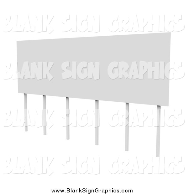 Illustration of a 3d Blank Sign with Support Posts