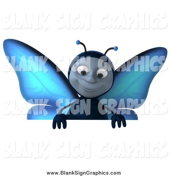 Illustration of a 3d Blue Butterfly Smiling down over a Blank Sign Board