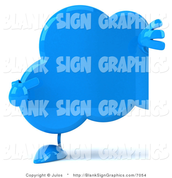 Illustration of a 3d Blue Cloud Holding a Blank Sign