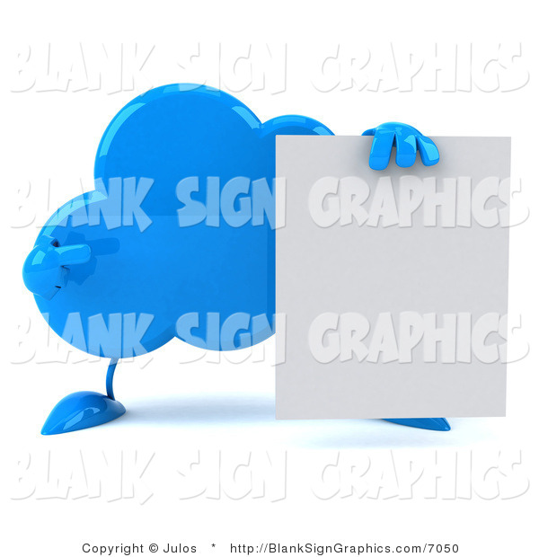 Illustration of a 3d Blue Cloud Holding and Pointing to a Blank Sign