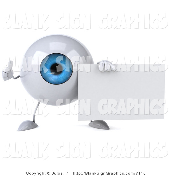 Illustration of a 3d Blue Eyeball Holding a Blank Sign