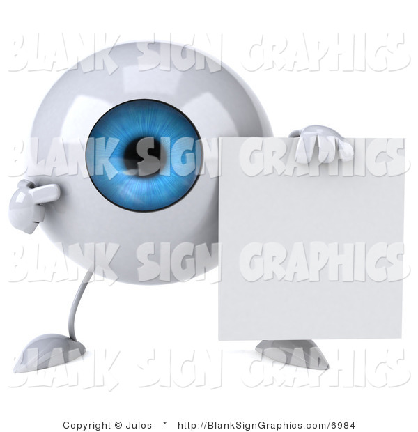 Illustration of a 3d Blue Eyeball with a Blank Sign
