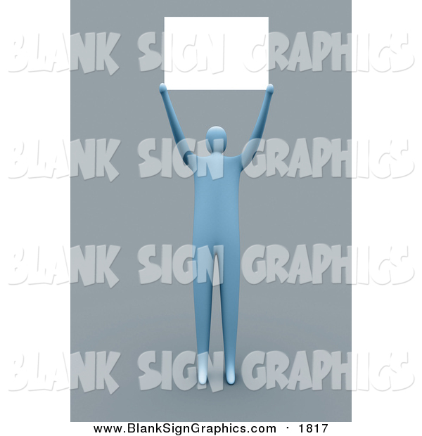 Illustration of a 3d Blue Man Holding a Blank Sign over His Head