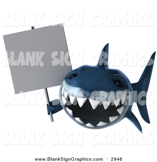 Illustration of a 3d Blue Shark Holding a Blank Sign