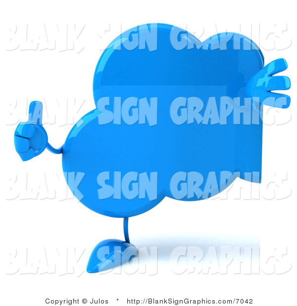 Illustration of a 3d Blue Thumbs up Cloud Holding a Blank Sign