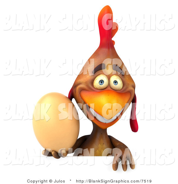 Illustration of a 3d Brown Chicken Holding an Egg and Blank Sign