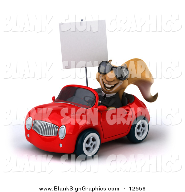 Illustration of a 3d Business Squirrel Wearing Sunglasses, Holding a Sign and Driving a Red Car