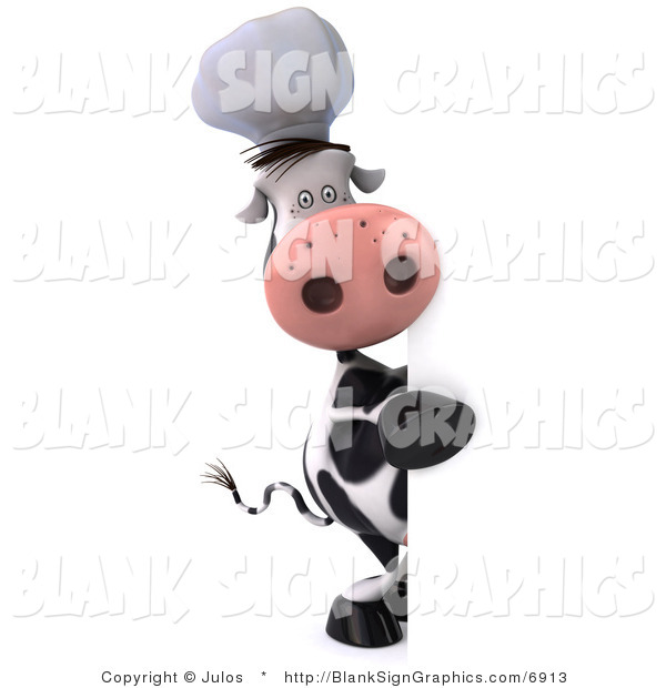 Illustration of a 3d Chef Cow with a Blank Sign
