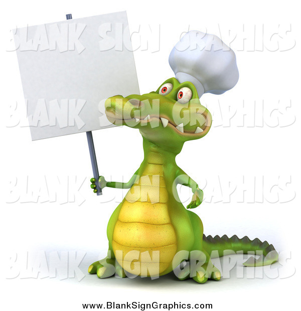Illustration of a 3d Chef Crocodile Holding a Blank Sign