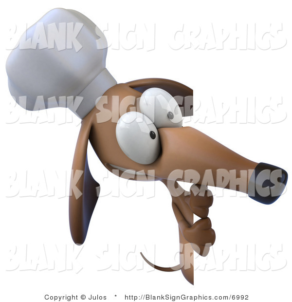 Illustration of a 3d Chef Dachshund Dog Holding a Blank Sign