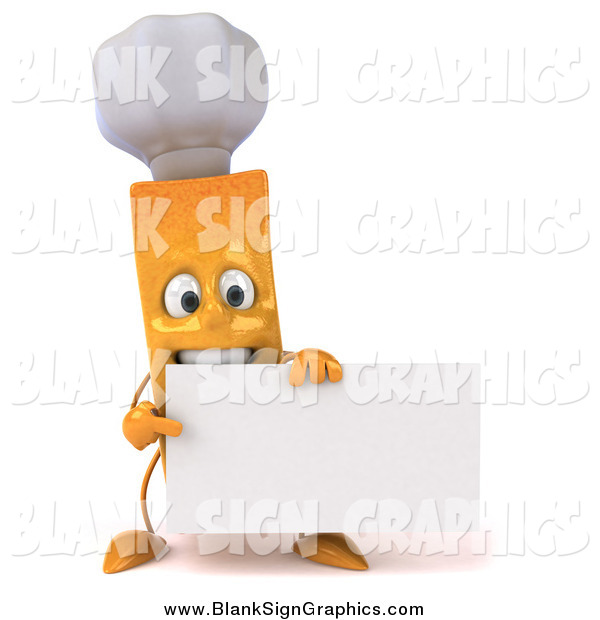 Illustration of a 3d Chef French Fry Holding a Blank Sign