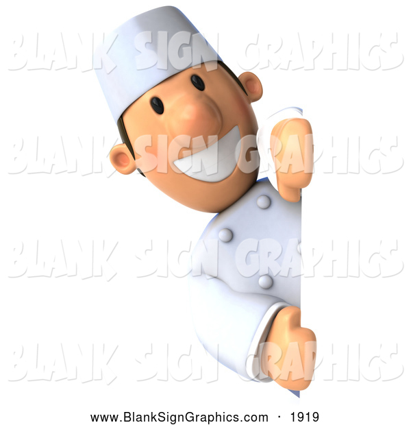 Illustration of a 3d Chef Guy Looking Around a Sign