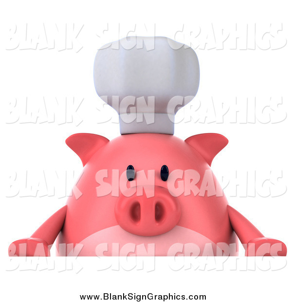 Illustration of a 3d Chef Pig over a Sign