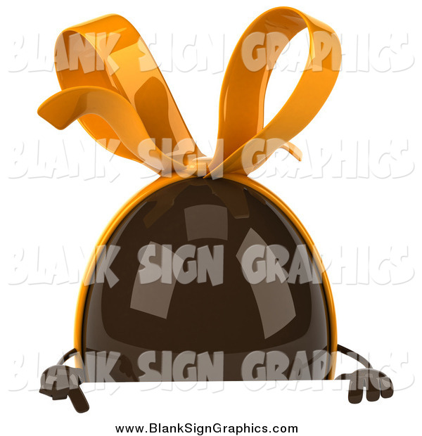 Illustration of a 3d Chocolate Egg over a Sign