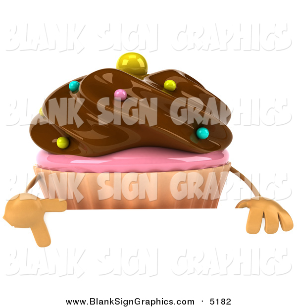 Illustration of a 3d Chocolate Frosted Cupcake over a Sign