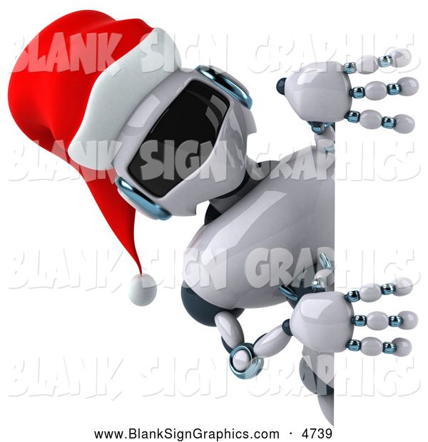 Illustration of a 3d Christmas Robot Character Looking Around a Sign