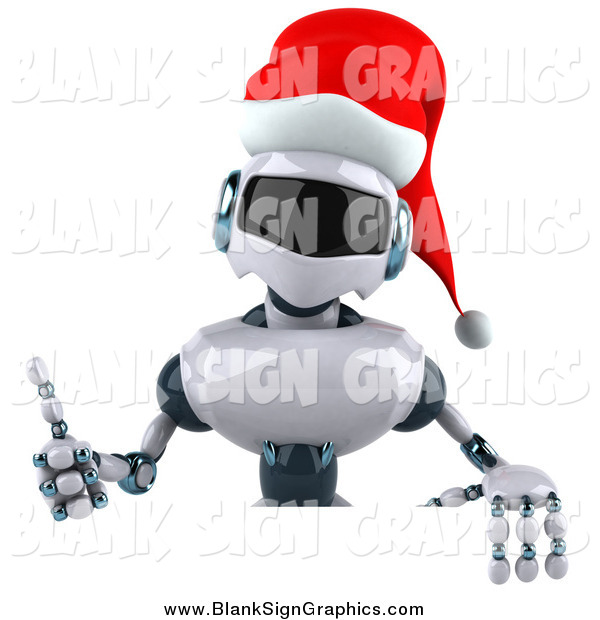 Illustration of a 3d Christmas Robot Holding a Thumb up over a Blank Sign