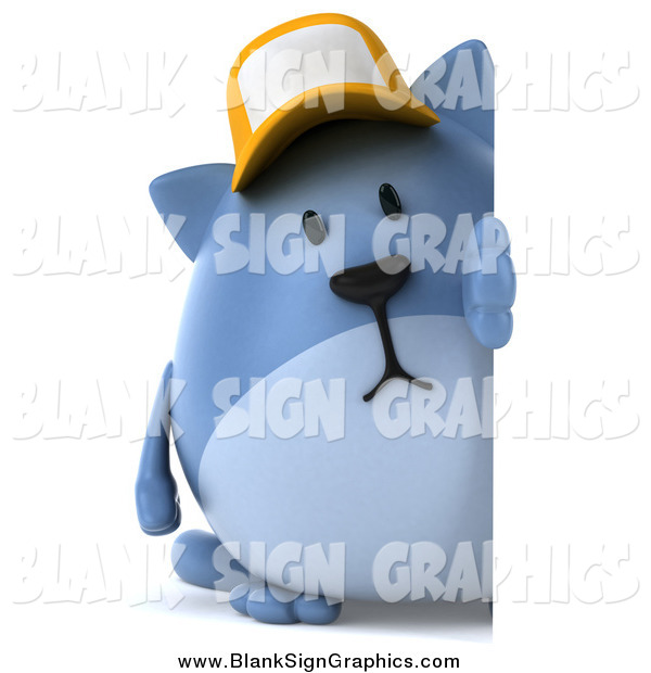 Illustration of a 3d Chubby Blue Cat Wearing a Baseball Cap by a Sign