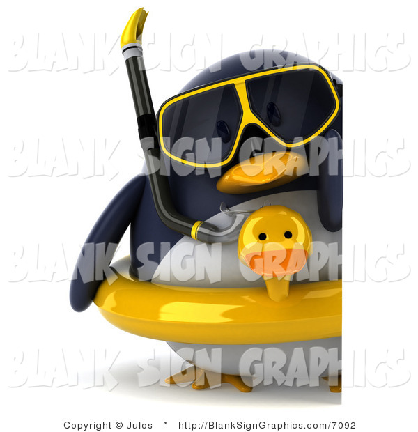 Illustration of a 3d Chubby Snorkel Penguin with an Inner Tube and Blank Sign