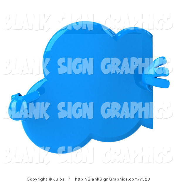 Illustration of a 3d Cloud Pointing at a Blank Sign