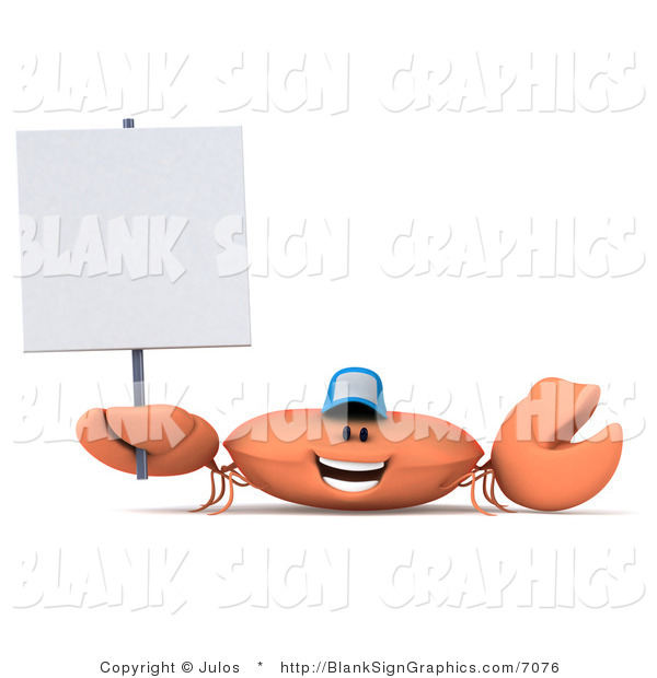 Illustration of a 3d Crab Wearing a Baseball Cap and Holding a Blank Sign