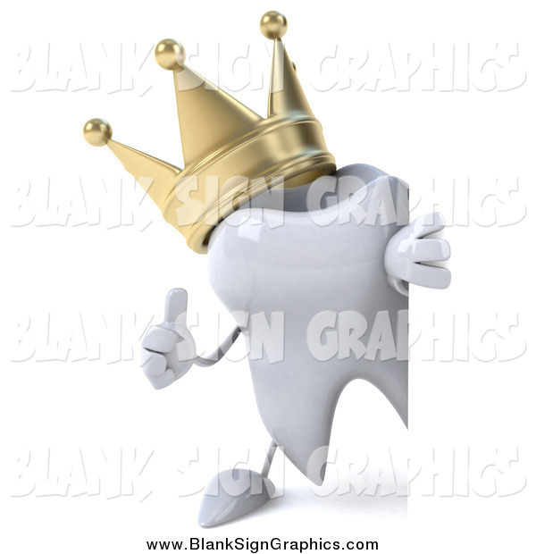Illustration of a 3d Crowned Tooth Character Holding a Thumbs up Around a Blank Sign