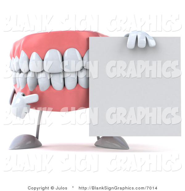 Illustration of a 3d Dentures Character with a Blank Sign