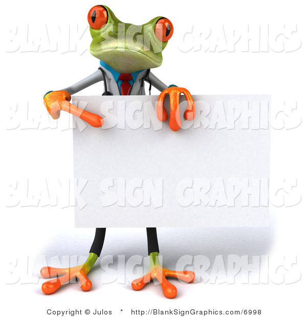 Illustration of a 3d Doctor Frog Holding a Blank Sign