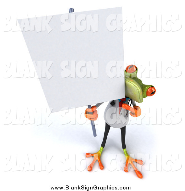 Illustration of a 3d Doctor Frog Holding up a Blank Sign