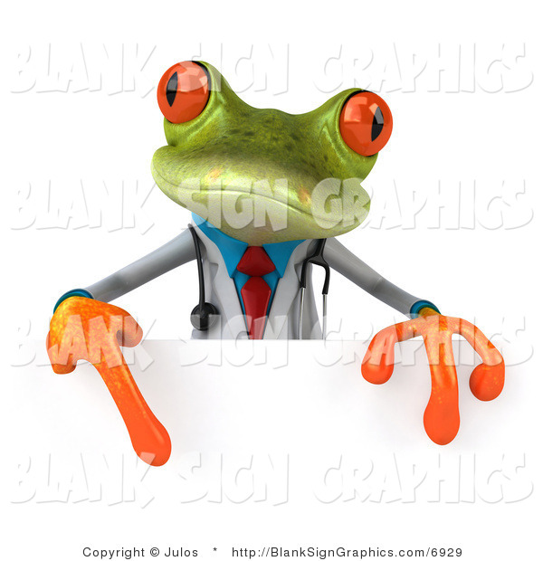 Illustration of a 3d Doctor Frog with a Blank Sign
