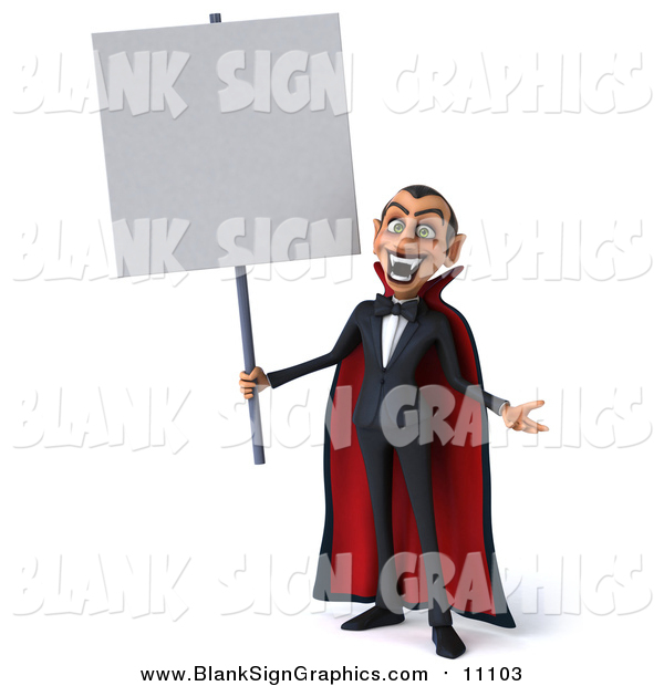 Illustration of a 3d Dracula Vampire Holding a Blank Sign