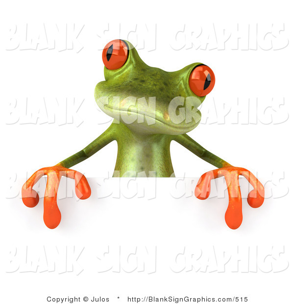 Illustration of a 3d Frog Holding a Blank Sign