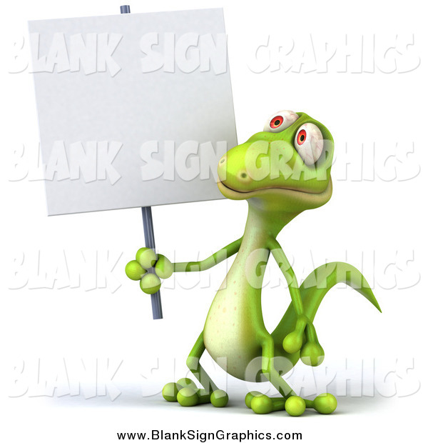 Illustration of a 3d Gecko Lizard Holding a Blank Sign