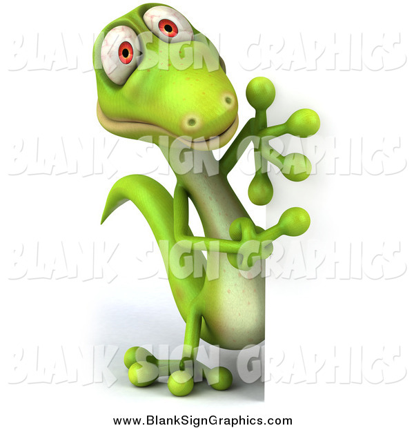 Illustration of a 3d Gecko Lizard Looking Around a Blank Sign