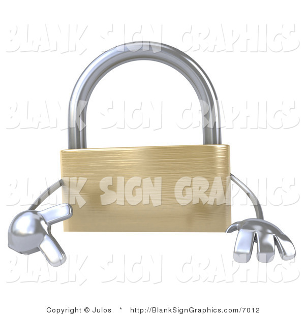 Illustration of a 3d Golden Padlock with a Blank Sign